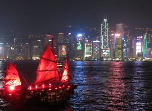 victoria harbour with boat view