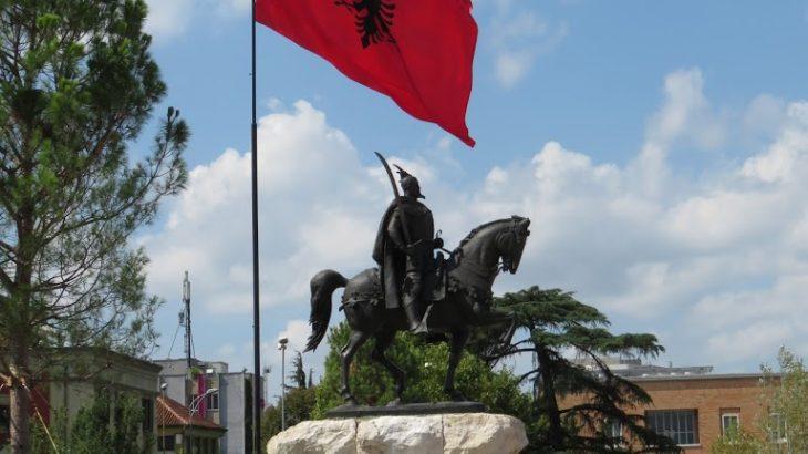 Skenderbej Square Tirana with flag